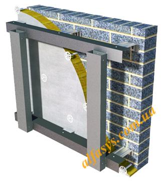 Оцинкованная фасадная вентилируемая система двухконтурная усиленная